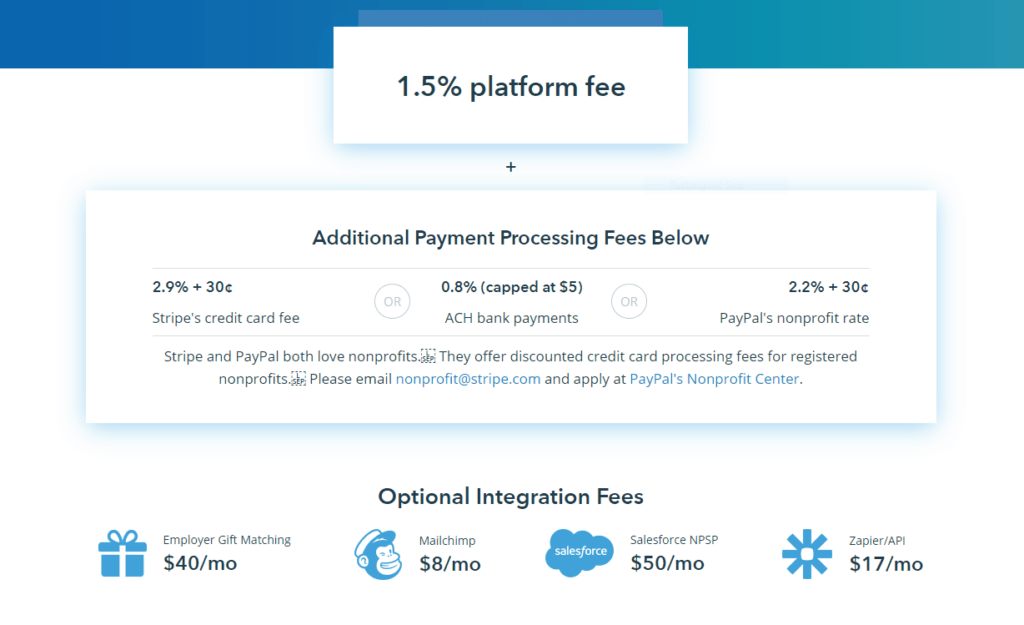 pricing for donorbox