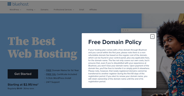 Free domain registration from Bluehost