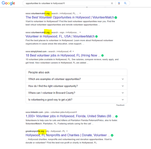 .Org domain in Google search results pages
