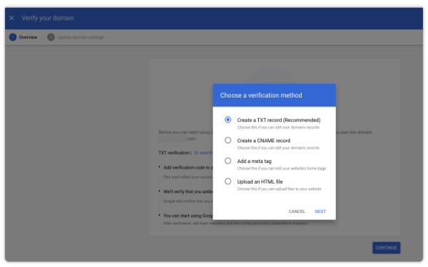google txt recommendation method