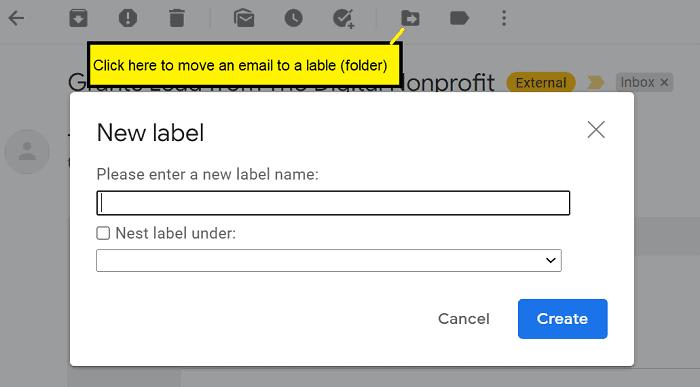 Create Gmail label