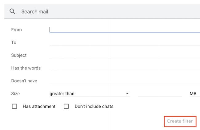 Create a Gmail filter