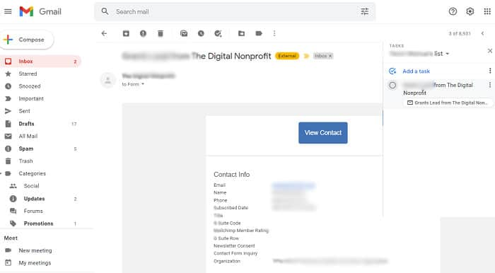 Creating a Gmail task