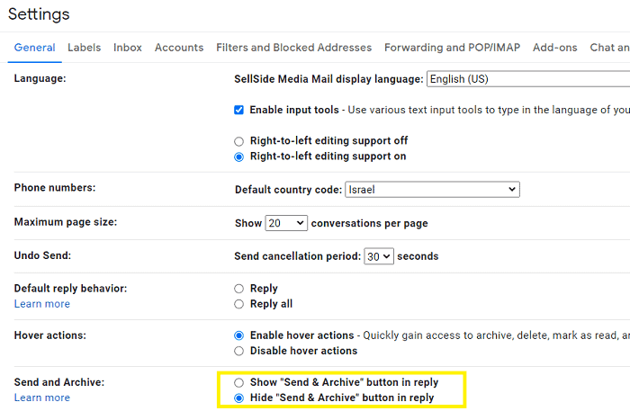 Enable send and archive feature