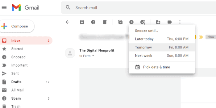 Gmail Snooze feature